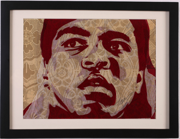 Shepard Fairey -  <strong>Muhammad Ali</strong> (2007<strong style = 'color:#635a27'></strong>)<bR /> Rubylith Small 15 x 17 inches