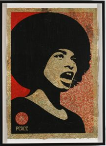 Shepard Fairey -  <strong>Angela Davis Small Stencil</strong> (2007<strong style = 'color:#635a27'></strong>)<bR /> retired stencil on collaged paper 15 x 21 inches