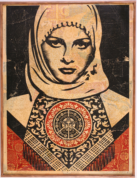 Shepard Fairey -  <strong>Arab Woman HPM</strong> (2007<strong style = 'color:#635a27'></strong>)<bR /> hand painted multiple screened collage on wood 18 x 24 inches