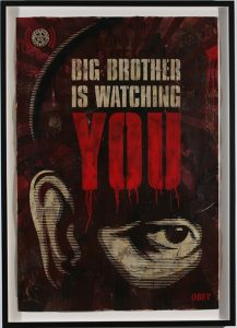 Shepard Fairey -  <strong>Big Brother is Watching</strong> (2007<strong style = 'color:#635a27'></strong>)<bR /> stencil collage on paper 30 x 44 inches