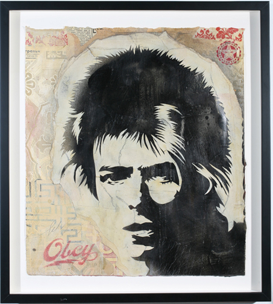 Shepard Fairey -  <strong>David Bowie Stencil</strong> (2007<strong style = 'color:#635a27'></strong>)<bR /> retired stencil on collaged paper 20 x 23 inches