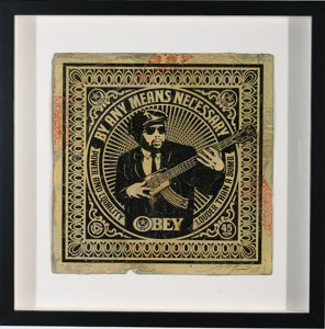 Shepard Fairey -  <strong>By Any Means Necessary</strong> (2007<strong style = 'color:#635a27'></strong>)<bR /> hand painted multiple silkscreen collage on album cover 12 x 12 inches