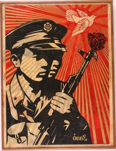 Shepard Fairey -  <strong>Chinese Soldiers</strong> (2007<strong style = 'color:#635a27'></strong>)<bR /> hand painted multiple stencil collage on paper 30 x 44 inches