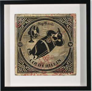 Shepard Fairey -  <strong>Cold Chillin</strong> (2007<strong style = 'color:#635a27'></strong>)<bR /> hand painted multiple silkscreen collage on album cover 12 x 12 inches