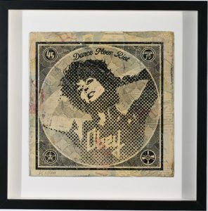 Shepard Fairey -  <strong>Dance Floor Riot</strong> (2007<strong style = 'color:#635a27'></strong>)<bR /> hand painted multiple silkscreen collage on album cover 12 x 12 inches