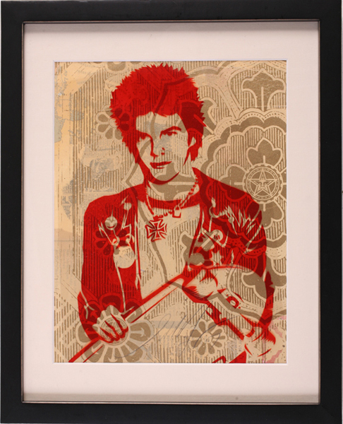 Shepard Fairey -  <strong>Darby Crash</strong> (2007<strong style = 'color:#635a27'></strong>)<bR /> rubylith small 12 x 15 inches