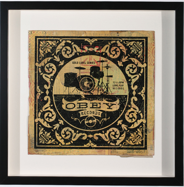 Shepard Fairey -  <strong>Gold Label Drums</strong> (2007<strong style = 'color:#635a27'></strong>)<bR /> hand painted multiple silkscreen collage on album cover 12 x 12 inches