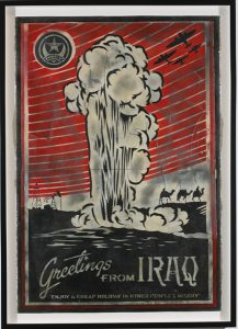 Shepard Fairey -  <strong>Greetings From Iraq Stencil</strong> (2007<strong style = 'color:#635a27'></strong>)<bR /> retired stencil on paper 30 x 44 inches