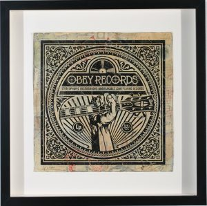 Shepard Fairey -  <strong>Guitar Fist</strong> (2007<strong style = 'color:#635a27'></strong>)<bR /> hand painted multiple silkscreen collage on album cover 12 x 12 inches
