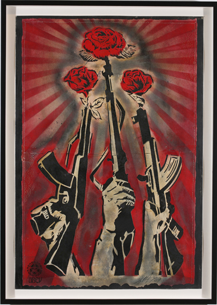 Shepard Fairey -  <strong>Guns and Roses</strong> (2007<strong style = 'color:#635a27'></strong>)<bR /> silkscreen on metal Edition of 2 18 x 24 inches