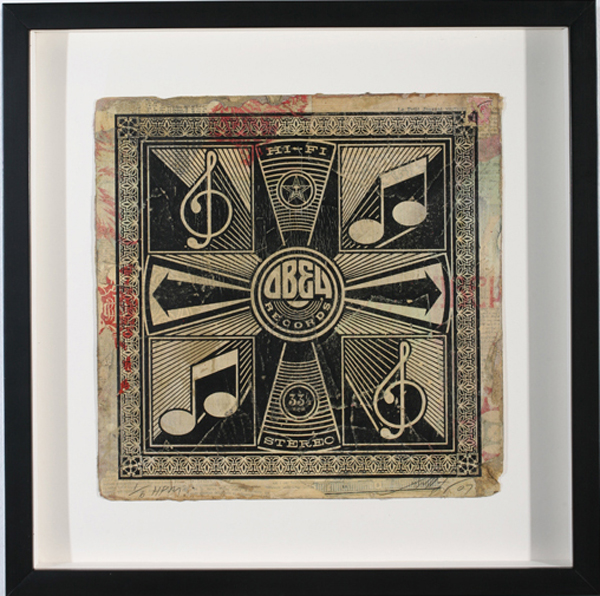 Shepard Fairey -  <strong>HI-FI at 33 1/3</strong> (2007<strong style = 'color:#635a27'></strong>)<bR /> hand painted multiple silkscreen collage on album cover 12 x 12 inches
