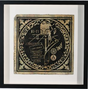Shepard Fairey -  <strong>Hi FI (side A) 4/4</strong> (2007<strong style = 'color:#635a27'></strong>)<bR /> hand painted multiple silkscreen collage on album cover 12 x 12 inches