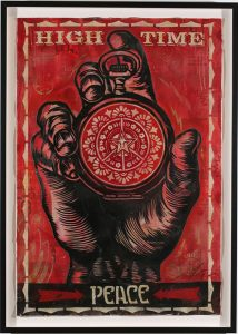Shepard Fairey -  <strong>High Time for Peace Stencil</strong> (2007<strong style = 'color:#635a27'></strong>)<bR /> retired stencil on collaged paper 30 x 44 inches