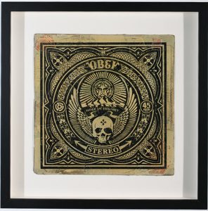 Shepard Fairey -  <strong>Hole in the Sky</strong> (2007<strong style = 'color:#635a27'></strong>)<bR /> hand painted multiple silkscreen collage on album cover 12 x 12 inches