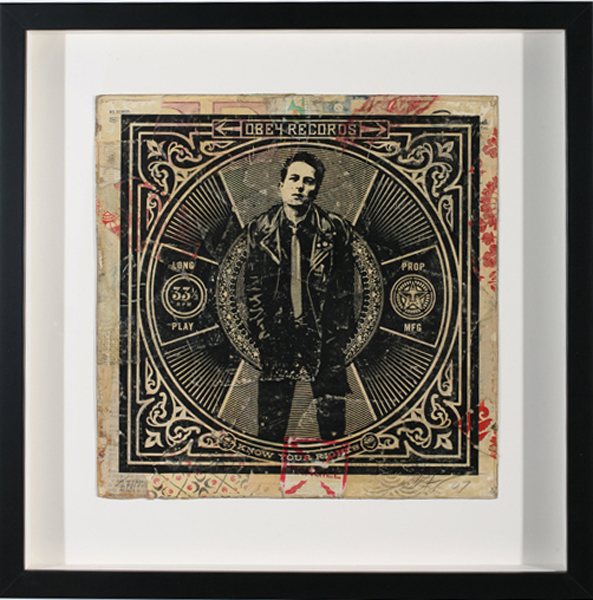 Shepard Fairey -  <strong>Know Your Rights (strummer)</strong> (2007<strong style = 'color:#635a27'></strong>)<bR /> hand painted multiple silkscreen collage on album cover 12 x 12 inches