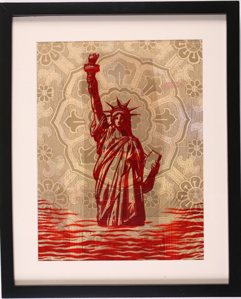 Shepard Fairey -  <strong>Liberty</strong> (2007<strong style = 'color:#635a27'></strong>)<bR /> Rubylith Large 16 x 20 inches