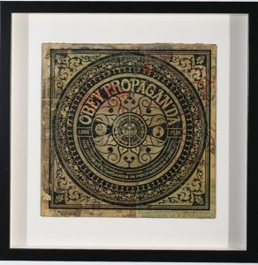 Shepard Fairey -  <strong>Long Play Propaganda</strong> (2007<strong style = 'color:#635a27'></strong>)<bR /> hand painted multiple silkscreen collage on album cover 12 x 12 inches