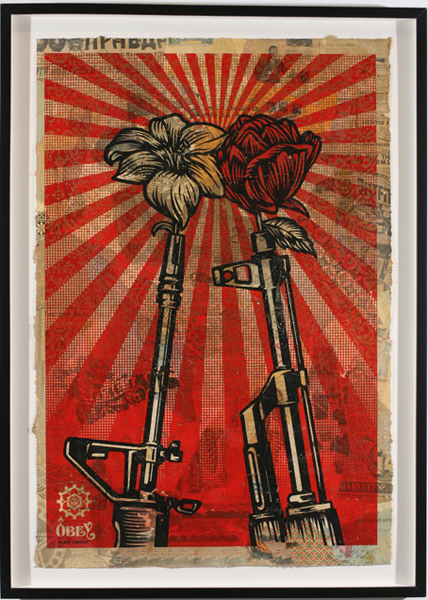 Shepard Fairey -  <strong>M16 vs AK47</strong> (2007<strong style = 'color:#635a27'></strong>)<bR /> hand painted multiple screened collage on paper 29 x 42 inches