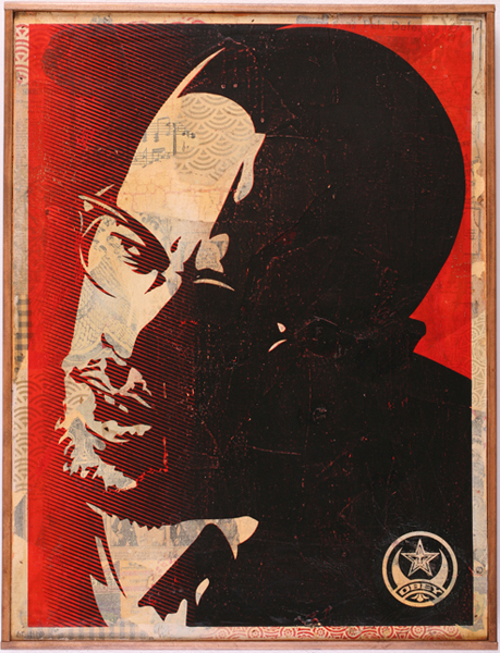Shepard Fairey -  <strong>Malcolm X HPM</strong> (2007<strong style = 'color:#635a27'></strong>)<bR /> hand painted multiple screened collage on wood 18 x 24 inches