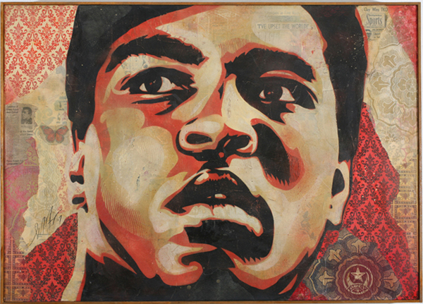 Shepard Fairey -  <strong>Muhamed Ali Canvas</strong> (2007<strong style = 'color:#635a27'></strong>)<bR /> stencil collageon canvas 30 x 42 inches