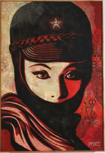 Shepard Fairey -  <strong>Mujer Fatal</strong> (2007<strong style = 'color:#635a27'></strong>)<bR /> hand painted multiple screened collage on wood 19 x 24 inches