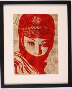 Shepard Fairey -  <strong>Mujer Fatal</strong> (2007<strong style = 'color:#635a27'></strong>)<bR /> rubylith large 16 x 20 inches