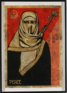 Shepard Fairey -  <strong>Muslim Woman</strong> (2007<strong style = 'color:#635a27'></strong>)<bR /> hand painted multiple screened collage on paper 29 x 42 inches