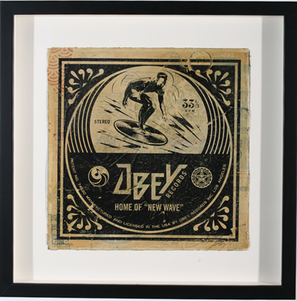 Shepard Fairey -  <strong>New Wave AP</strong> (2007<strong style = 'color:#635a27'></strong>)<bR /> hand painted multiple silkscreen collage on album cover 12 x 12 inches