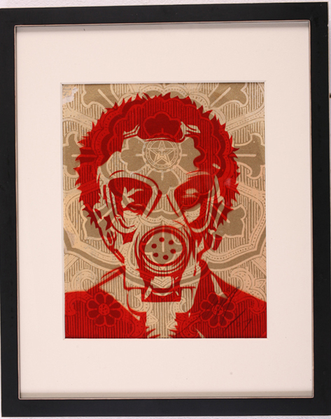 Shepard Fairey -  <strong>New World Odor</strong> (2007<strong style = 'color:#635a27'></strong>)<bR /> rubylith small 12 x 15 inches