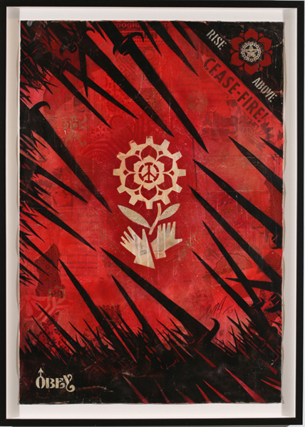 Shepard Fairey -  <strong>OBEY Bayonettes</strong> (2007<strong style = 'color:#635a27'></strong>)<bR /> stencil collage on paper 30 x 44 inches