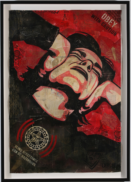 Shepard Fairey -  <strong>Obey with Caution</strong> (2007<strong style = 'color:#635a27'></strong>)<bR /> stencil collage on paper 30 x 44 inches