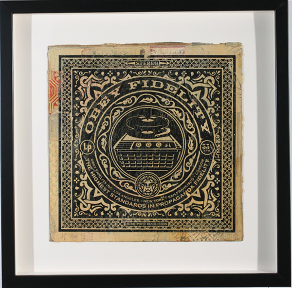 Shepard Fairey -  <strong>OBEY Fidelity</strong> (2007<strong style = 'color:#635a27'></strong>)<bR /> hand painted multiple silkscreen collage on album cover 12 x 12 inches