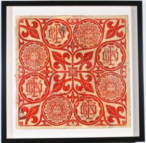 Shepard Fairey -  <strong>OBEY Floral Patterns Red</strong> (2007<strong style = 'color:#635a27'></strong>)<bR /> hand painted multiple screen print on collaged paper AP of sold out edition 18 x 18 inches