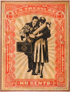 Shepard Fairey -  <strong>Proud Parents HPM</strong> (2007<strong style = 'color:#635a27'></strong>)<bR /> hand painted multiple screened collage on wood 18 x 24 inches