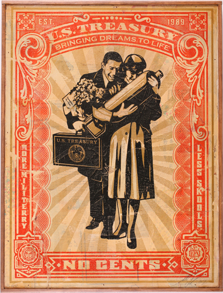 Shepard Fairey -  <strong>Proud Parents HPM</strong> (2007<strong style = 'color:#635a27'></strong>)<bR /> hand painted multiple screened collage onwood 18 x 24 inches