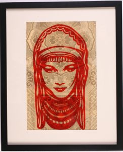 Shepard Fairey -  <strong>Peace Goddess</strong> (2007<strong style = 'color:#635a27'></strong>)<bR /> rubylith large 16 x 20 inches