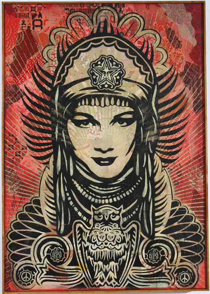 Shepard Fairey -  <strong>Peace Goddess Canvas</strong> (2007<strong style = 'color:#635a27'></strong>)<bR /> stencil collage on canvas 30 x 43 inches