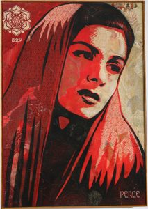 Shepard Fairey -  <strong>Peace Mujer Canvas</strong> (2007<strong style = 'color:#635a27'></strong>)<bR /> stencil collage on canvas 30 x 43 inches