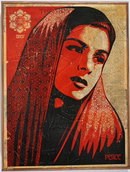 Shepard Fairey -  <strong>Peace Mujer</strong> (2007<strong style = 'color:#635a27'></strong>)<bR /> hand painted multiple screened collage on wood 19 x 24 inches
