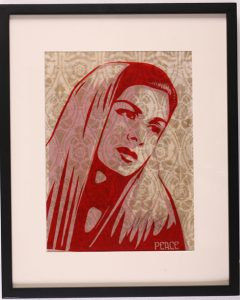 Shepard Fairey -  <strong>Peace Mujer Ruby</strong> (2007<strong style = 'color:#635a27'></strong>)<bR /> rubylith large 16 x 20 inches