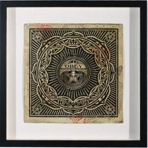Shepard Fairey -  <strong>Peace Ornament</strong> (2007<strong style = 'color:#635a27'></strong>)<bR /> stencil collage on paper 31 x 44 inches