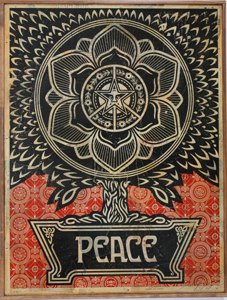 Shepard Fairey -  <strong>Peace Tree</strong> (2007<strong style = 'color:#635a27'></strong>)<bR /> silkscreen on metal Edition of 2 18 x 24 inches