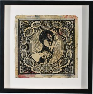 Shepard Fairey -  <strong>Power to the People</strong> (2007<strong style = 'color:#635a27'></strong>)<bR /> hand painted multiple silkscreen collage on album cover 12 x 12 inches