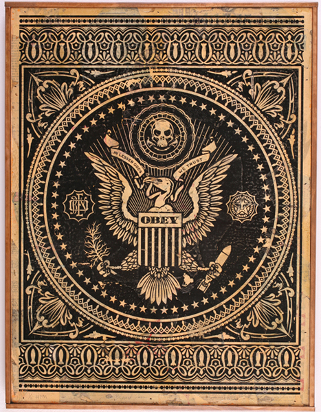 Shepard Fairey -  <strong>Presidential Seal (black)</strong> (2007<strong style = 'color:#635a27'></strong>)<bR /> hand painted multiple screen on collagedwood 18 x 24 inches