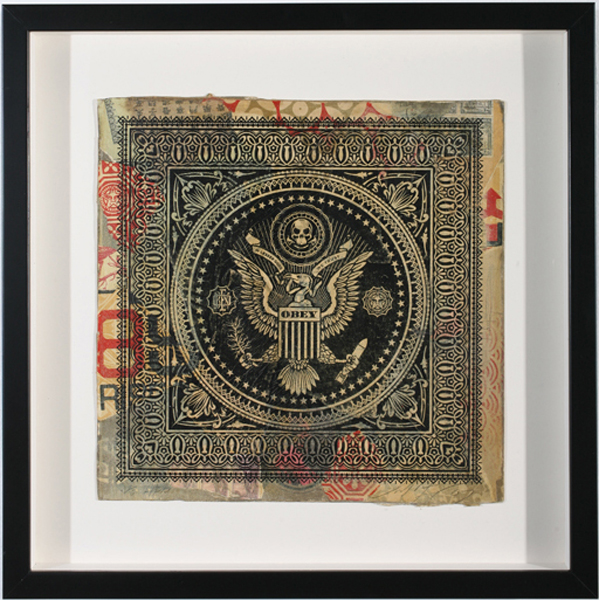 Shepard Fairey -  <strong>Presidential Seal Record</strong> (2007<strong style = 'color:#635a27'></strong>)<bR /> hand painted multiple silkscreen collage on album cover 12 x 12 inches