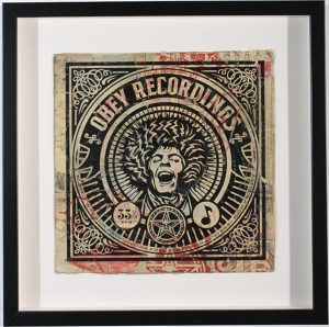 Shepard Fairey -  <strong>Pretty Vacant</strong> (2007<strong style = 'color:#635a27'></strong>)<bR /> hand painted multiple silkscreen collage on album cover 12 x 12 inches