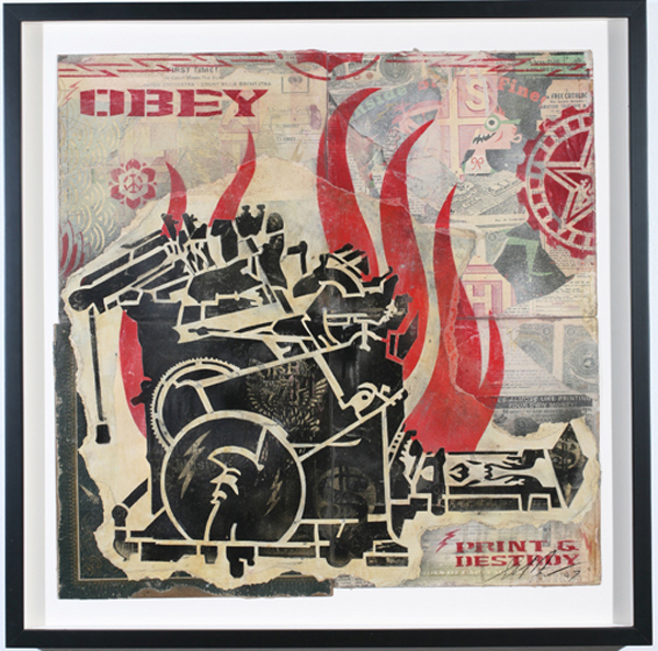 Shepard Fairey -  <strong>Print and Destroy Stencil</strong> (2007<strong style = 'color:#635a27'></strong>)<bR /> retired stencil on collaged paper 25 x 25 inches