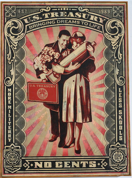 Shepard Fairey -  <strong>Proud Parents Canvas</strong> (2007<strong style = 'color:#635a27'></strong>)<bR /> screen collage with hand paintingon canvas 30 x 43 inches