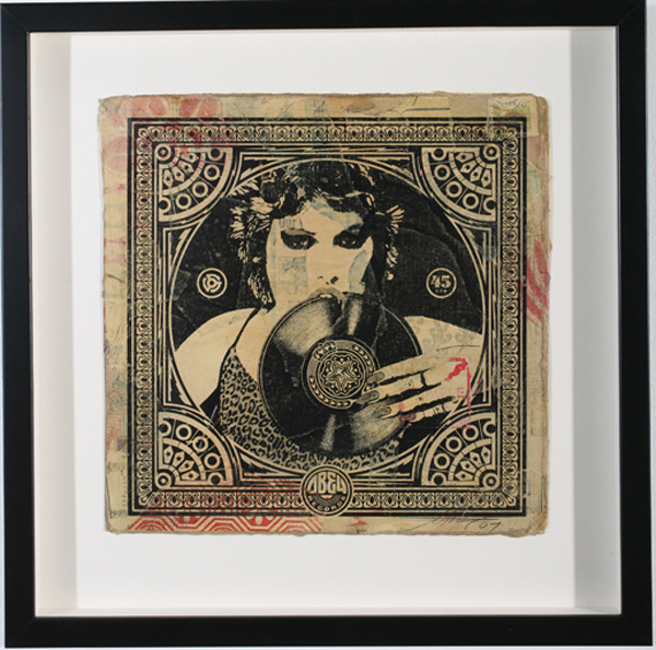 Shepard Fairey -  <strong>Punk Girl</strong> (2007<strong style = 'color:#635a27'></strong>)<bR /> hand painted multiple silkscreen collage on album cover 12 x 12 inches