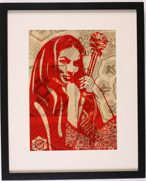 Shepard Fairey -  <strong>Revolution Woman With Brush</strong> (2007<strong style = 'color:#635a27'></strong>)<bR /> rubylith large 16 x 20 inches
